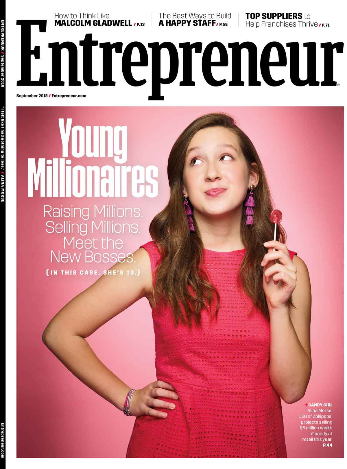 Alina Morse CEO Zolli Candy on the cover of Entrepreneur Magazine September 2018